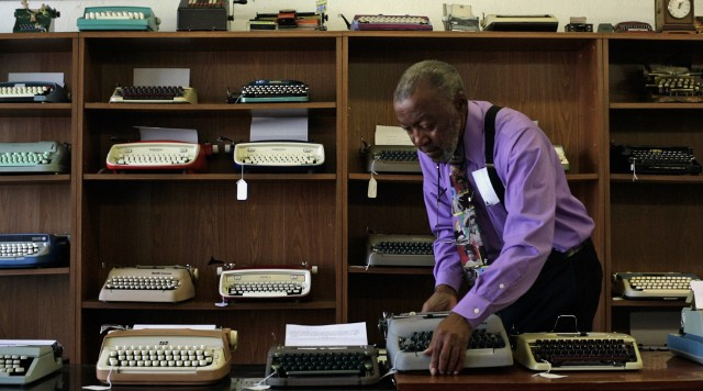 Herb Permillion, owner of California Typewriter shop, in scene from documentary film 'California Typewriter'