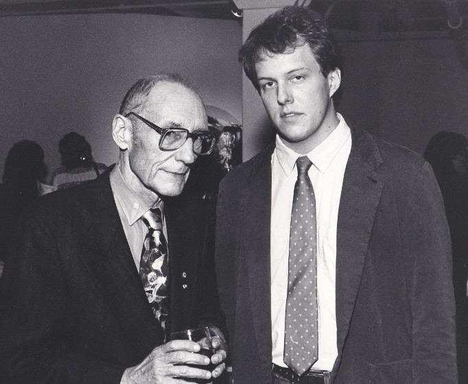 Writers William S Burroughs and Gregory W Beaubien at Klein Gallery in Chicago October 21 1988