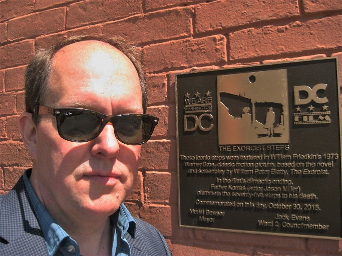 Writer Greg Beaubien, author of sensual thriller novel Shadows the Sizes of Cities visits Exorcist Steps in Georgetown 2018