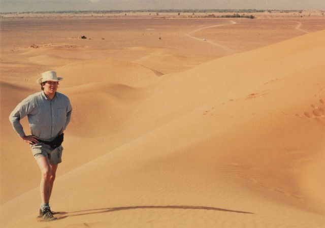 Shadows the Sizes of Cities author Gregory W Beaubien in Moroccan Sahara 1993