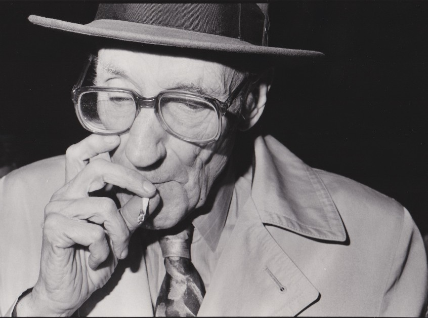 William Burroughs at the Prop Theatre in Chicago October 20 1988 photo by Richard Alm