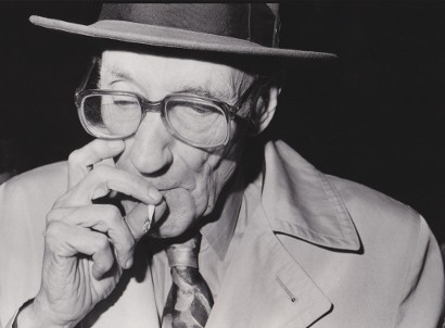William Burroughs at Prop Theatre in Chicago October 20 1988 photo by Richard Alm