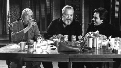 John Huston, Orson Welles, Peter Bogdanovich on set of The Other Side of the Wind