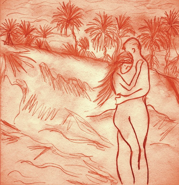 Lovers in Sahara Desert