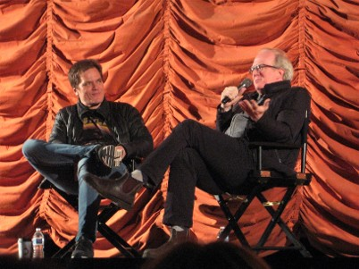 Actor Michael Shannon, left, and playwright Tracy Letts discuss 2007 movie 'Bug' at Music Box Theatre in Chicago, January 9 2020. Moresby Press photo